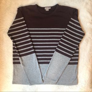 J. Crew Striped Grey and Maroon Long-Sleeved Top
